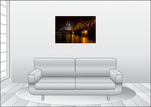 Premium Textil-Leinwand 90 cm x 60 cm quer Kölner Dom