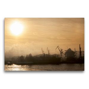 Premium Textil-Leinwand 75 cm x 50 cm quer Nebel im Hafen