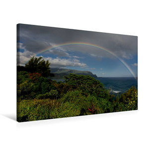 Premium Textil-Leinwand 75 cm x 50 cm quer Regenbogen über der H