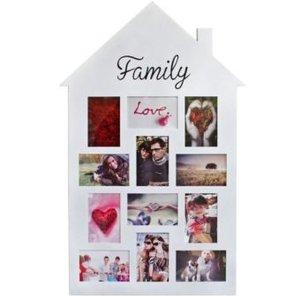 """Bilderrahmen Holz \""""Haus\"""", mit Aufschrift \""""Family\"""""""