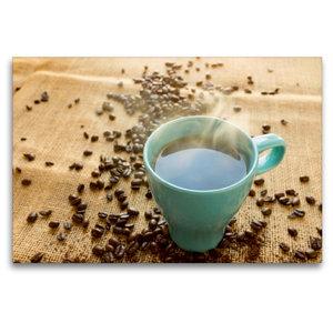 Premium Textil-Leinwand 120 cm x 80 cm quer Kaffee türkis
