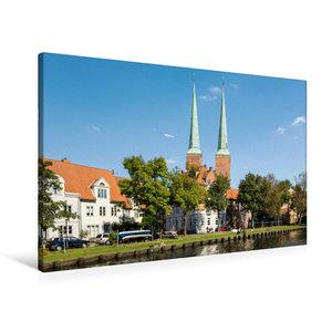 Premium Textil-Leinwand 90 cm x 60 cm quer Lübecker Dom