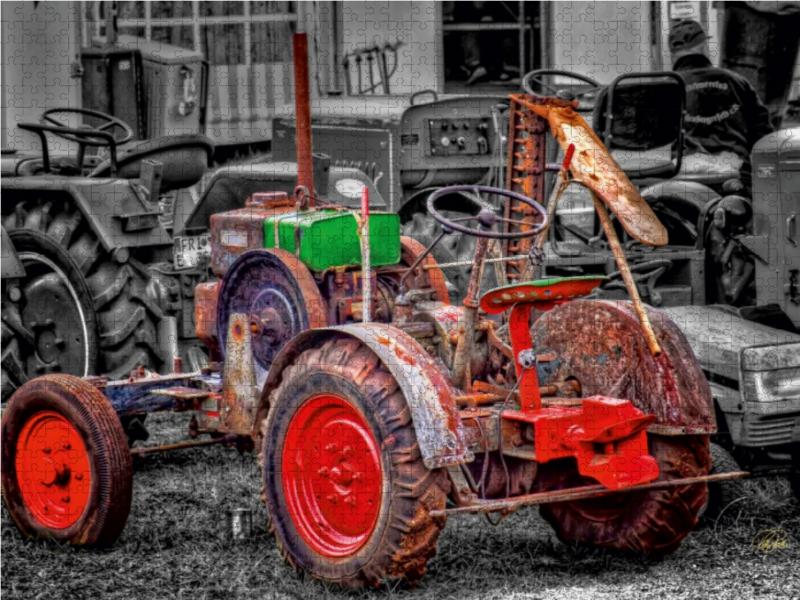 Traktor Oldtimer 2000 Teile Puzzle quer - zum Schließen ins Bild klicken