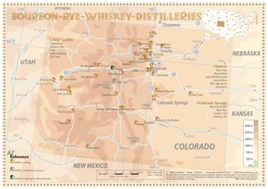 Bourbon-Rye-Whiskey Distilleries in Colorado - Tasting Map 34x24