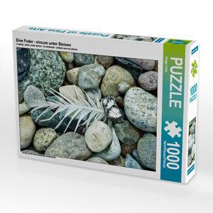 CALVENDO Puzzle Eine Feder - einsam unter Steinen 1000 Teile Leg