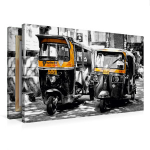 Premium Textil-Leinwand 75 cm x 50 cm quer Indien - Tuk Tuk