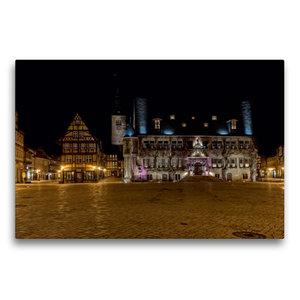 Premium Textil-Leinwand 75 cm x 50 cm quer Rathaus in Quedlinbur