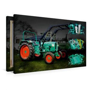 Premium Textil-Leinwand 90 cm x 60 cm quer Oldtimer Traktor Kram