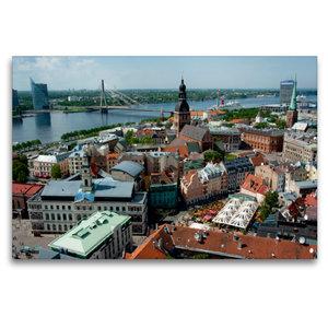 Premium Textil-Leinwand 120 cm x 80 cm quer Riga