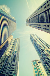 Premium Textil-Leinwand 50 cm x 75 cm hoch Dubai Marina Towers