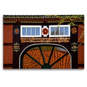 Premium Textil-Leinwand 120 cm x 80 cm quer Fachwerkhaus in Lügd