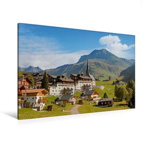 Premium Textil-Leinwand 120 cm x 80 cm quer Schweizer Alpendorf