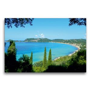Premium Textil-Leinwand 75 cm x 50 cm quer Bucht von Ágios Geórg