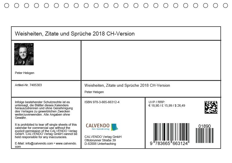 Weisheiten Zitate Und Sprüche Ein Jahr Voller Gedanken 2018 Ch Version