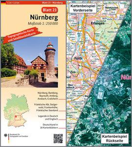 Nürnberg Umgebungskarte mit Satellitenbild 1:250.000
