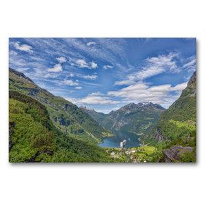 Premium Textil-Leinwand 90 cm x 60 cm quer Geirangerfjord
