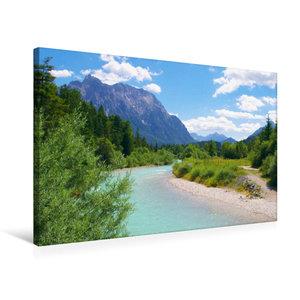 Premium Textil-Leinwand 75 cm x 50 cm quer Der Isar Naturerlebni