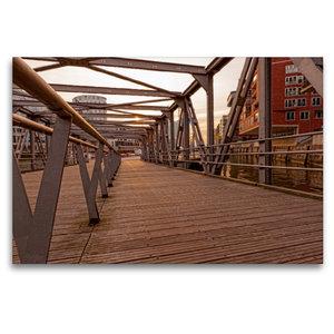 Premium Textil-Leinwand 120 cm x 80 cm quer Brücke Hafencity
