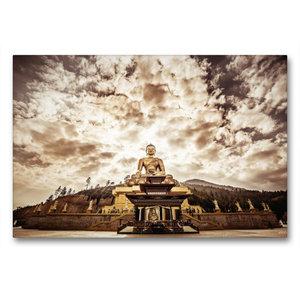 Premium Textil-Leinwand 90 cm x 60 cm quer Große Buddha Statue b