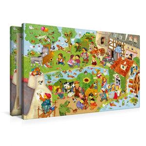 Premium Textil-Leinwand 90 cm x 60 cm quer Kunterbunte Kinderlie