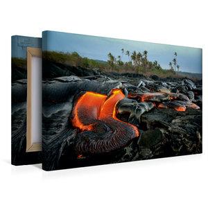 Premium Textil-Leinwand 45 cm x 30 cm quer Lava und Kokospalmen