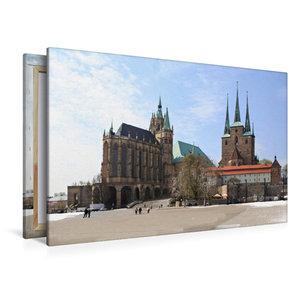 Premium Textil-Leinwand 120 cm x 80 cm quer Erfurter Dom im Wint