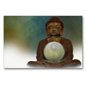 Premium Textil-Leinwand 90 cm x 60 cm quer Buddha und Yin Yang