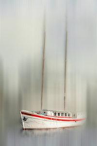 Premium Textil-Leinwand 60 cm x 90 cm hoch Segeljacht - abstrakt