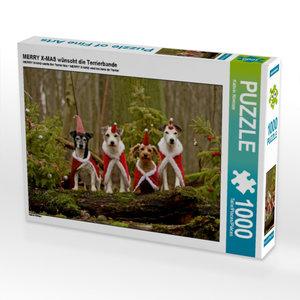 MERRY X-MAS wünscht die Terrierbande 1000 Teile Puzzle quer