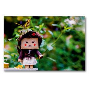 Premium Textil-Leinwand 90 cm x 60 cm quer Lilly im Schmetterlin