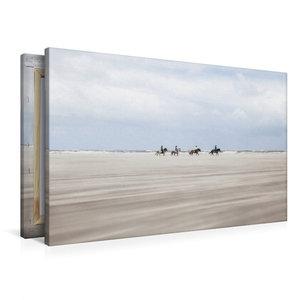 Premium Textil-Leinwand 90 cm x 60 cm quer Pferde im Sandsturm
