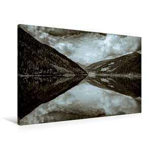 Premium Textil-Leinwand 90 cm x 60 cm quer Spiegelung im See