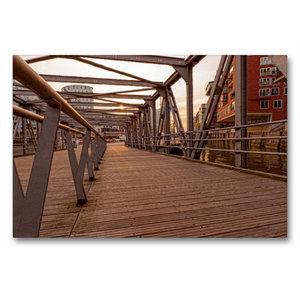 Premium Textil-Leinwand 90 cm x 60 cm quer Brücke Hafencity
