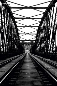 Premium Textil-Leinwand 30 cm x 45 cm hoch Prag, Eisenbahnbrücke