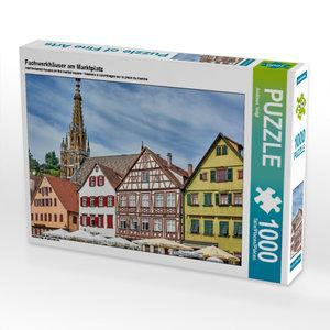 Fachwerkhäuser am Marktplatz 1000 Teile Puzzle quer