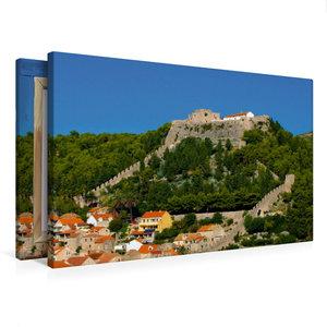 Premium Textil-Leinwand 75 cm x 50 cm quer Hvar Castle