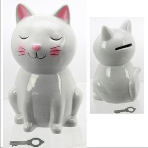 Spardose Keramik, Katze, sortiert, ca. 16 cm