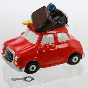 Spardose Keramik, Auto mit Gepäck, ca. 16 cm
