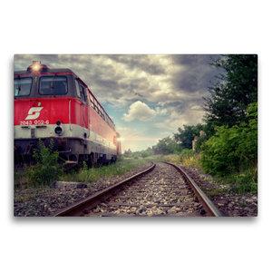 Premium Textil-Leinwand 75 cm x 50 cm quer Lokomotive