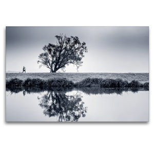 Premium Textil-Leinwand 120 cm x 80 cm quer Abschied im Herbst