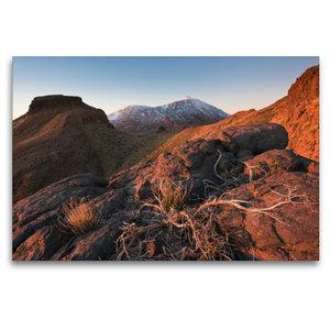 Premium Textil-Leinwand 120 cm x 80 cm quer Teide im warmen Lich
