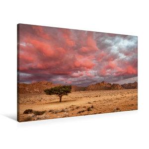 Premium Textil-Leinwand 90 cm x 60 cm quer Rosa Wolken über dem