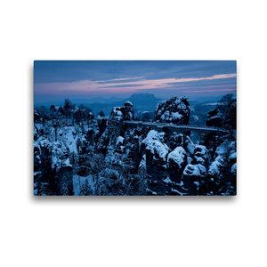 Premium Textil-Leinwand 45 cm x 30 cm quer Winter an der Bastei