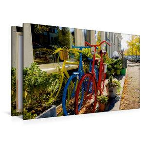 Premium Textil-Leinwand 120 cm x 80 cm quer Bunte Fahrräder