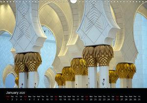 Abu Dhabi - Sheikh Zayed Grand Mosque (Wall Calendar 2020 DIN A3