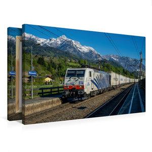 Premium Textil-Leinwand 75 cm x 50 cm quer Berg, Bahn und blauer