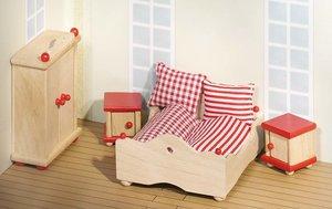 Goki 51954 - Puppenmöbel Schlafzimmer für Puppenhaus, 4-teilig