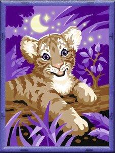 Tiger im Mondschein. Malen nach Zahlen Serie D