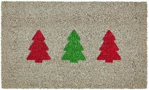 Tannenbäume, Fussmatte, grau/rot/grün
