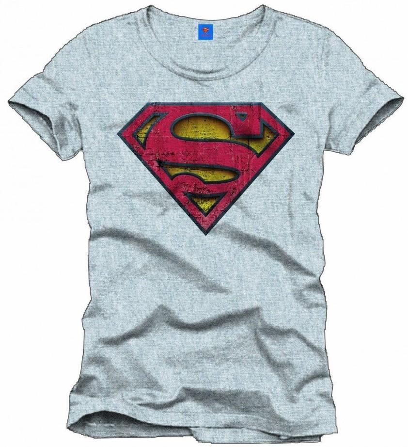 Superman - Vintage Logo - T-Shirt - Grau - Größe L - zum Schließen ins Bild klicken